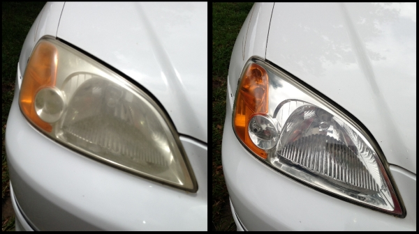These foggy, faded headlights can be restored to original condition at High Tide Auto Detailing Myrtle Beach